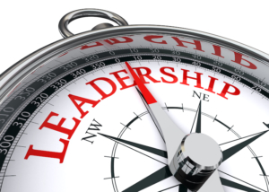 Compass portraying the role of leadership in setting direction
