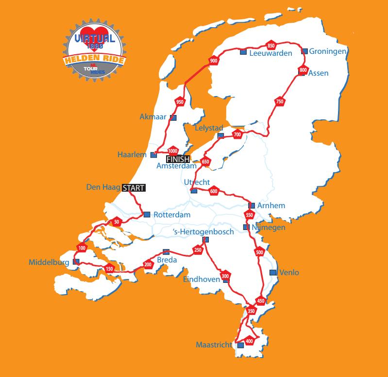 1000 km fietsen ronde Nederland om ons Helden in de Zorg te ondersteunen